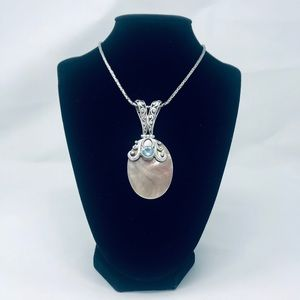 Jewelry - Mother of Pearl BlueTopaz Sterling Silver Pendant